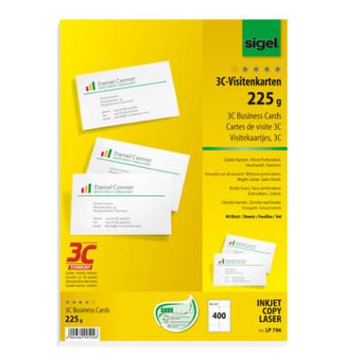 LP796 3- Visitenkarten weiß 85 x 55 mm 225g 400 Stück glatte Kanten