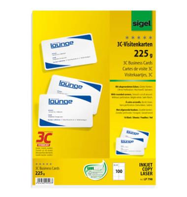 LP798 3C- Visitenkarten weiß 85 x 55 mm 200g 100 Stück