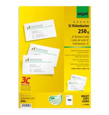 Lp800 3c Visitenkarten Weiß 85 X 55 Mm 250g 100 Stück Glatte Kanten