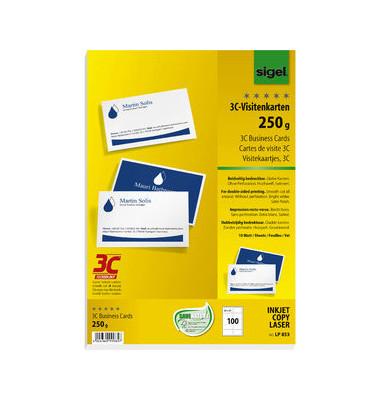 LP853 3C- Visitenkarten weiß 85 x 55 mm 250g 100 Stück glatte Kanten Duplex
