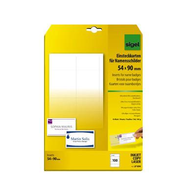 PC-Einsteckkarten f.Namenssch. weiß 54x90mm 170g 100 St