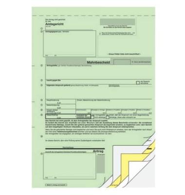 Antrag für Mahnbescheid A4 hoch 2x2 Blatt