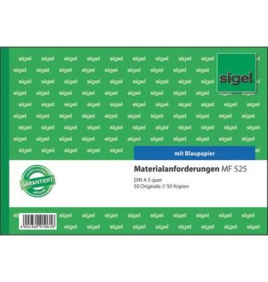 Materialanforderung MF525 2x50 Blatt bedruckt A5 quer mit Blaupapier