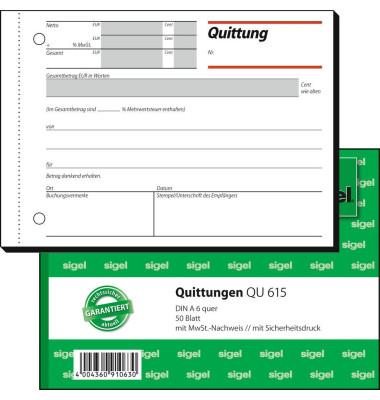 Quittung QU615 mit MwSt. A6 quer 50 Blatt