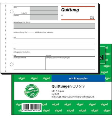 Quittungsblock QU619 einfach Satzbild A6 quer 50 Blatt