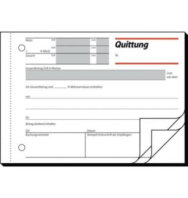 Quittungsblock QU635 mit MwSt. Nachweis A6 quer 3x50 Blatt