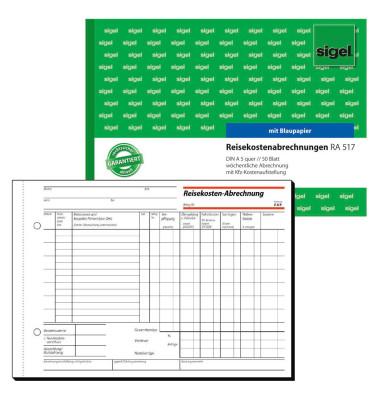 Reisekostenabrechnungen RA517 A5 quer 50 Blatt