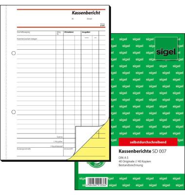 Kassenbericht SD007 A5 selbstdurchschreibend 2x40 Blatt