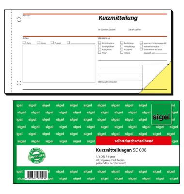 Kurzmitteilung SD008 selbstdurchschreibend 1/3 A4 quer 2x40 Blatt