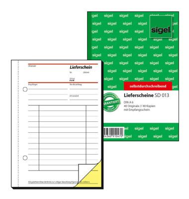 Lieferschein SD013 mit Empfangsschein selbstdurchschreibend A6 hoch 2x40 Blatt