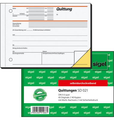 Quittung SD021 mit MwSt. selbstdurchschreibend A6 quer 2x40 Blatt