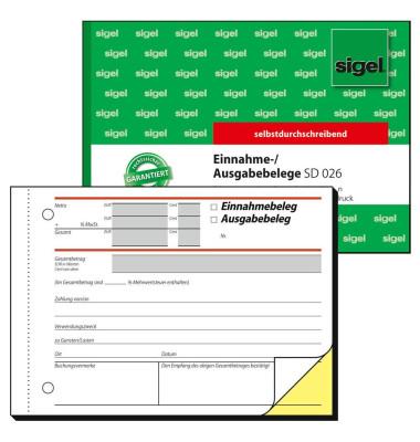 Ausgabe- Einnahmebeleg SD026 selbstdurchschreibend A6 quer 2x40 Blatt
