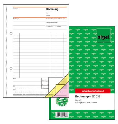 Rechnung SD032 A5 hoch selbstdurchschreibend 3x40 Blatt