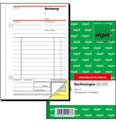 Rechnung SD033 1. und 2. Blatt bedruckt selbstdurchschreibend A6 hoch 2x40 Blatt