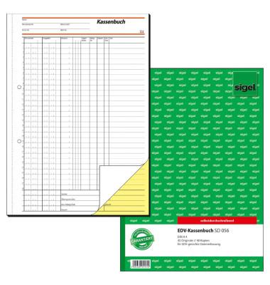 Kassenbuch SD056 für EDV-Erfassung A4 hoch selbstdurchschreibend 2x40 Blatt