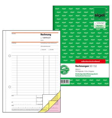 Rechnung A5 3x 50 Blatt mit fortlaufender Nummerierung