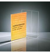Tischaufsteller TA220 T-Form A4 glasklar für beidseitige Präsentation