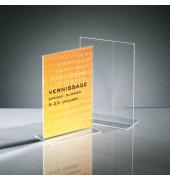 Tischaufsteller TA222 T-Form A5 glasklar für beidseitige Präsentation