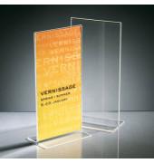Tischaufsteller TA224 T-Form Din Lang hoch glasklar für beidseitige Präsentation