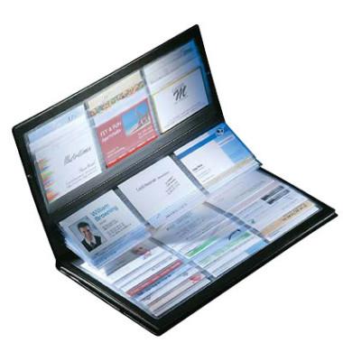 Visitenkartenmappe 288 Karten schwarz bis 90x85mm Kunstst.