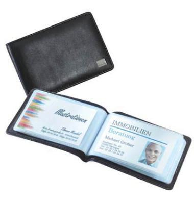 Visitenkartenmappe Torina schwarz 90x58mm 40K. Leder