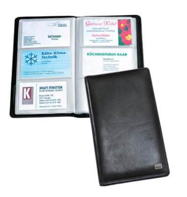 Visitenkartenmappe Torina schwarz 90x85mm Leder