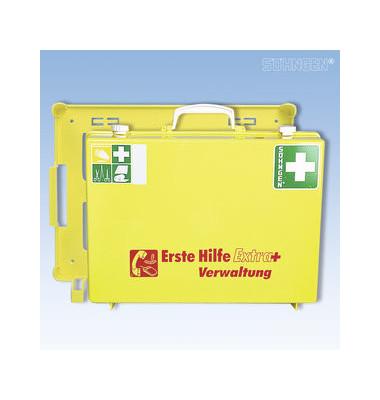 Erste Hilfe-Koffer Extra+ Verwaltung gelb gefüllt DIN 13157