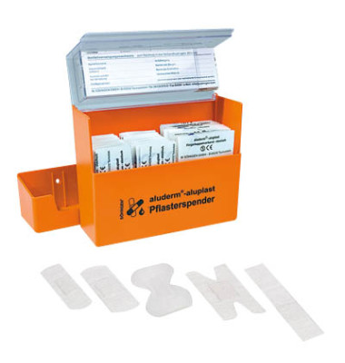 Pflasterspender aluplast orange 16x12,2x5,7 gefüllt