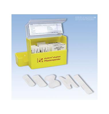Aluderm Pflasterspender aluplast gelb gefüllt 160x122x57mm 90 Pflaster