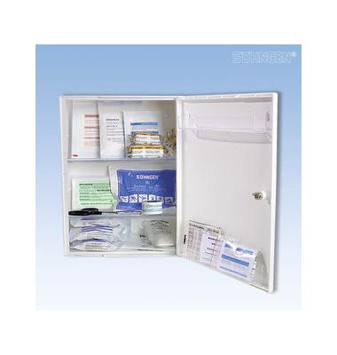 Erste-Hilfe-Schrank Berlin weiß gefüllt DIN 13157