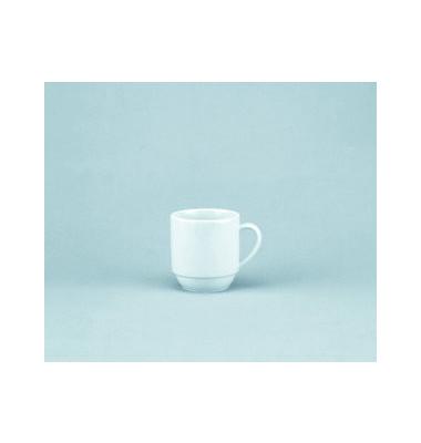 Kaffeetasse Joker 280ml weiß Porzellan stapelbar