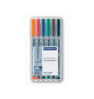 Folienstift 311 S farbig sortiert 0,4 mm 6er-Etui non-permanent