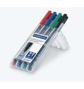 Folienstift 318 F farbig sortiert 0,6mm 4er-Etui  permanent
