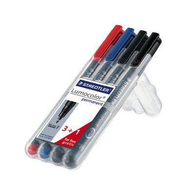 Folienstift 318 F farbig sortiert  0,6 mm Promo 3+1 permanent
