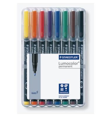 Folienstift 318 F farbig sortiert 0,6 mm 8er-Etui permanent