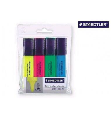 Textmarker Textsurfer classic 4er Etui farbig sortiert 1-5mm Keilspitze