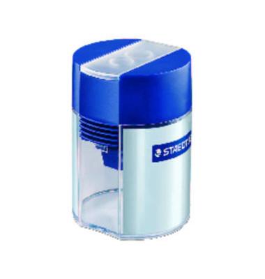 Doppel-Spitzdose mit Behälter transparent/blau