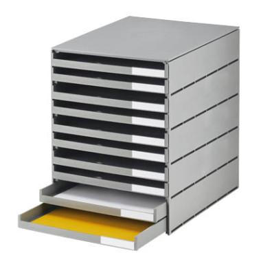 Schubladenbox styroval 23102-85 grau/grau 10 Schubladen offen
