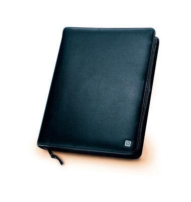 48468 Leder Ringbuch Klassik A5 mit Reißverschuß schwarz