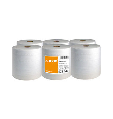 Rollenhandtücher 075443 racon premium 2-140 Außenabrollung 2-lagig Tissue hochweiß 6 Rollen