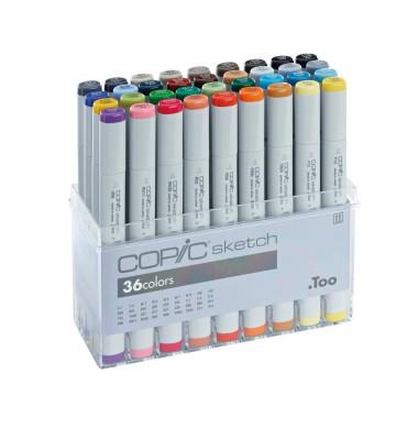 Layoutmarker Sketch 21075158 36er Etui farbig sortiert 1mm & 6mm Rundspitze/Keilspitze