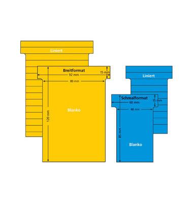 T-Karten 542150 Größe 2 hellgelb 44x70mm 170g liniert 100 Stück