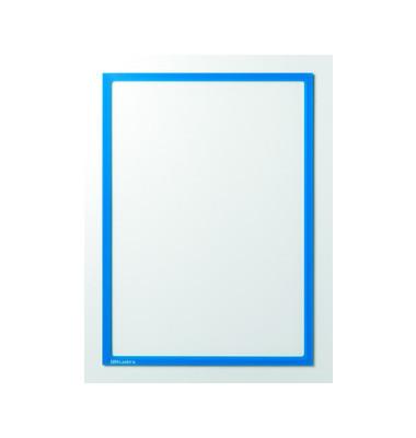 Infotaschen magnetisch für A4 blauer Rahmen 5 Stück
