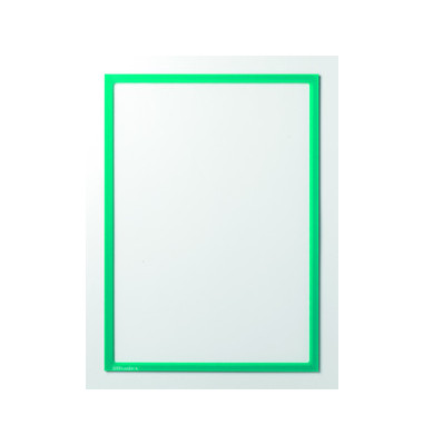Infotaschen magnetisch für A4 grüner Rahmen 5 Stück