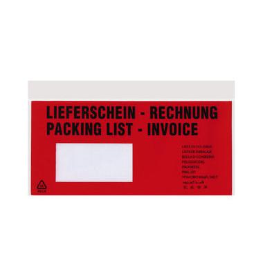 """Lieferscheintaschen Tura Din Lang """"LIEFERSCHEIN - RECHNUNG"""" selbstklebend 1000 Stück 20670"""