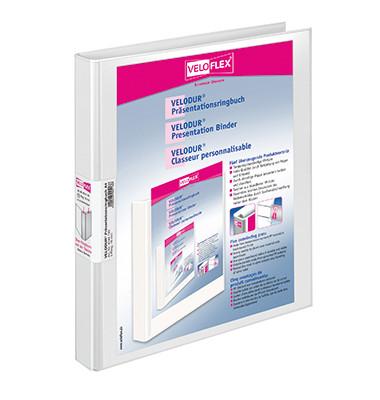 Präsentations-Ringbuch Velodur 4144-190 A4 weiß 4-Ring Ø 16mm Kunststoff