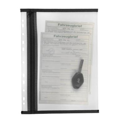 Reißverschlußtasche Velobag PP A4 183x290mm farblos/schwarz