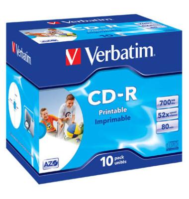 CD-R 52x Jewelcase für Inkjetdrucker 700MB/80Min 10 Stück