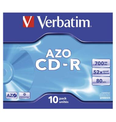 CD-R 52x Jewelcase AZO 700MB/80Min 10 Stück