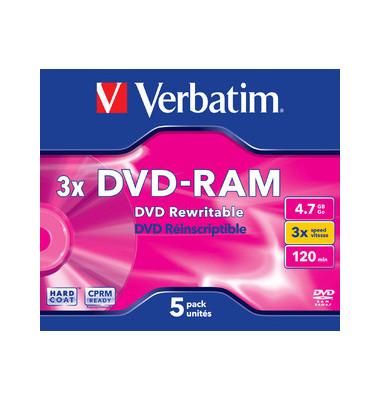 DVD-RAM 3x Jewelcase wiederbesch.4,7GB/120min 5 Stück